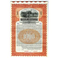Raleigh and Southport Railway Co., 1905 Specimen Bond