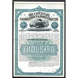 Cincinnati, Georgetown & Portsmouth Railroad Company, 1881 Specimen First Mortgage Bond Certificate