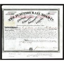 Junction Rail Road Company, 1867 Stock Certificate