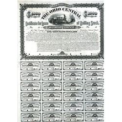 Ohio Central Railroad Company, 1882 Proof Certificate for Lease of Rolling Stock