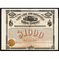Lake Erie and Louisville Railway Co., 1872 Issued Bond.