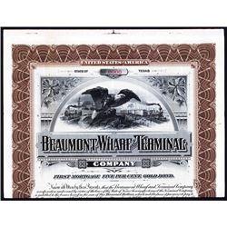 Beaumont Wharf and Terminal Co. 1900 Specimen Bond.