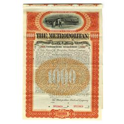 Metropolitan Railroad Co., 1895 Specimen Bond