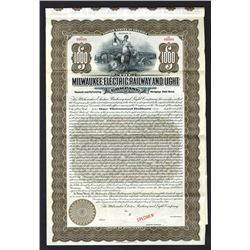 Milwaukee Electric Railway and Light Co., 1911 Specimen Bond