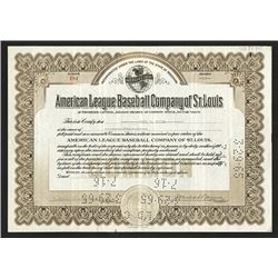 American League Baseball Company of St. Louis, 1936 Stock Certificate.