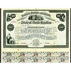 State of North Carolina, 1899 Specimen Bond.