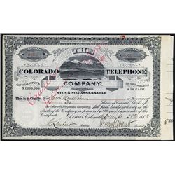 Colorado Telephone Co., 1883 Stock Certificate.