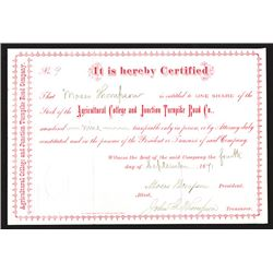 Agricultural College and Junction Turnpike Road Co, 1871 Stock Certificate