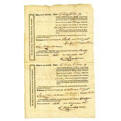 Bald Eagle, Nittany and Brush Valley Turnpike, 1835 Uncut Sheet of 2 Stock Certificates.