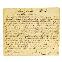 Green Castle and Mercersboro Turnpike Road Co., 1821 Hand Written Warrant..