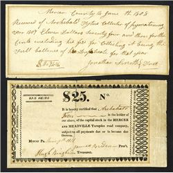 Mercer and Meadville Turnpike Road Co, 1808-18 Stock Certificate and Receipt