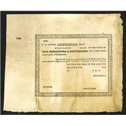 Milesburg and Smethport Turnpike Road Co, c. 1820s Stock Certificate