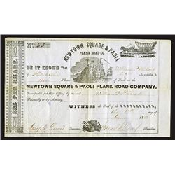 Newtown Square and Paoli Plank Road Co, 1855 Stock Certificate