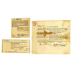 Pennsylvania Turnpike Stock Certificates Trio, ca.1821-1826 Issued Stock Trio.