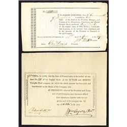 Pennsylvania, 1817-23 Turnpike Stock Certificate Pair