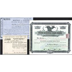 Pennsylvania, 1854-1900, Trio of Issued Turnpike Stock Certificates