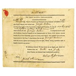 Somerset and Bedford Turnpike Road Co., 1821 Issued Stock Settlement