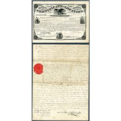 Certificate of Location, Act of June 2nd, 1858, BEP Printed, For Property In New Orleans, Louisiana.