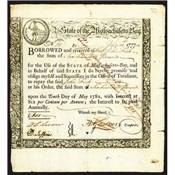 State of Massachusetts Bay, Treasury Loan Certificate, 6 Percent Interest, due May 10 1782