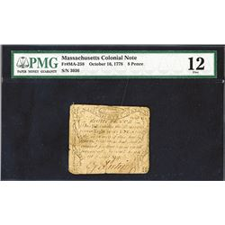 Massachusetts October 16, 1778 4s PMG Fine 12 (Revere Note).