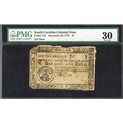 South Carolina, Colonial Note $1 December 23, 1776
