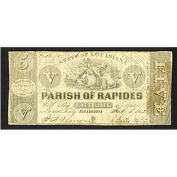 Parish of Rapides, 1862 Obsolete Banknote.