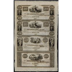 Susquehanna Bank, Port Deposit, Maryland, Uncut Obsolete Sheet of 4.