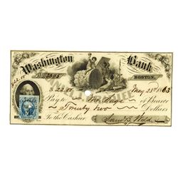 Washington Bank, 1863, Bank Check with Scarce Revenue Stamp