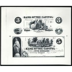 Bank of the Capital Uncut Sheet of 2 Progress Proofs & Border Proprietary Proofs.