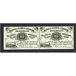 Cairo & St. Louis Railroad, 1877 Obsolete Scrip Note Pair.