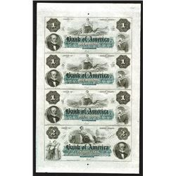 Bank of America, ca.1850-60 Uncut Obsolete Banknote sheet of 4 Notes.