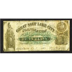 Great Salt Lake City Corp. 50 Cents. 1868.