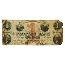 Peoples Bank, 1862 Obsolete Banknote.