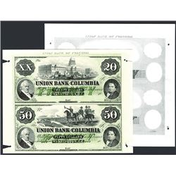 Union Bank of Columbia Uncut Sheet of 2 Proprietary Proofs and Undertints.
