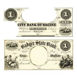 Badger State Bank, circa 1840-50s, Obsolete Production Proofs.