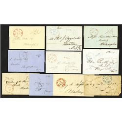 Maryland Stampless Cover Lot, ca.1818-1845.
