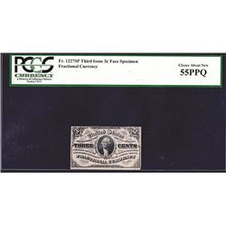 U.S. Fractional Currency, Fr. 1227SP 3¢ Third Issue Narrow Margin Face PCGS Choice About New 55PPQ.