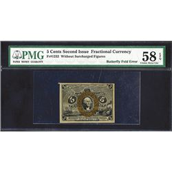 U.S. Fractional Currency, Fr. 1232 5¢ Second Issue PMG Choice About Unc 58 EPQ. Butterfly Fold error