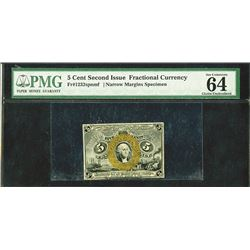 U.S. Fractional Currency, Fr. 1232SP 5¢ Second Issue Narrow Margin Face PMG Very Choice New 64, EPQ.