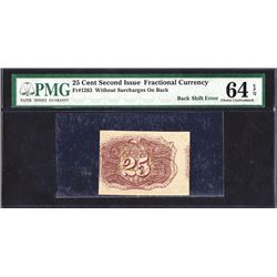 U.S. Fractional Currency, Fr. 1283 25¢, Second Issue, PMG Choice Uncirculated 64 EPQ. Error.