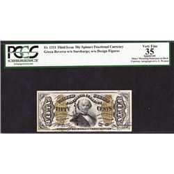 U.S. Fractional Currency, Fr. 1339 50c Third Issue Spinner Type II with Wyman Courtesy Autograph , P