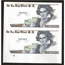 Varinota Specimen pair featuring Beethoven. DuraNote Polymer substrate.