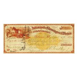 Indianapolis Bloomington & Western Railway Co., 1872, Issued Check With Imprinted Revenue