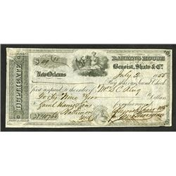 Banking House of Benoist, Shaw & Co., 1855 Issued Duplicate Check or Draft.
