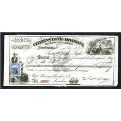 Citizen's Bank of Louisiana, 1872 Issued Bill of Exchange.