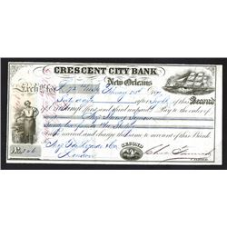 Crescent City Bank, 1871 Issued Bill of Exchange.