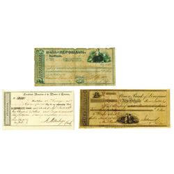 Union Bank of Louisiana, Bank of New Orleans, & Others; 1830s, Trio of Checks, Drafts & Exchanges.