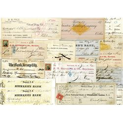 New York and New Jersey checks and drafts, circa 1820s to 1880s.