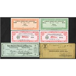 Various Bearer Checks and Scrip Notes & Pep Boys Auto Specimen Scrip Notes, 1933-1994, Lot of 6 Piec