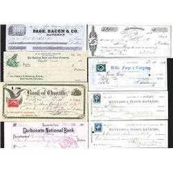 Wells Fargo, Maynard & Flood, & Other Banks, 1853-1901, Group of 8 Gold-Rush Era Checks